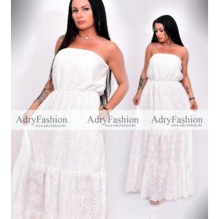 Fehér pánt nélküli madeira maxi ruha