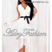 Fehér elegáns alkalmi lenge női ruha derekán megkötős