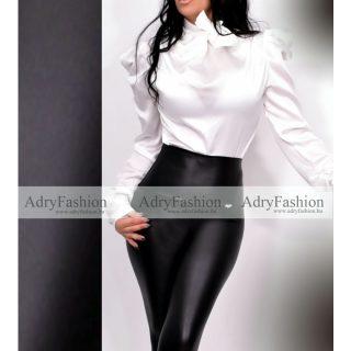 Fehér színű selyem buggyos ujjú nyakán megköthető elegáns alkalmi ing