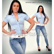 Kék alapon fehér pöttyös női ing