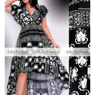 Fekete fehér virágos fodros alkalmi női ruha