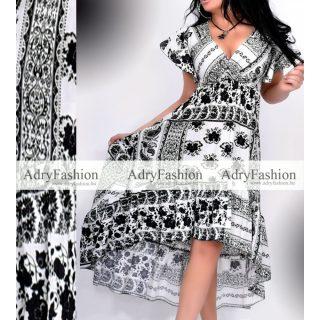 Fehér fekete virágos fodros alkalmi női ruha