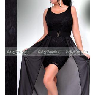 Fekete alkalmi Jázmin ruha lecsatolható szoknyával