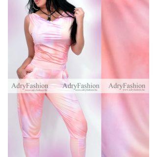 Narancs rózsaszín batikolt kámzsás felső és zsebes nadrág szett