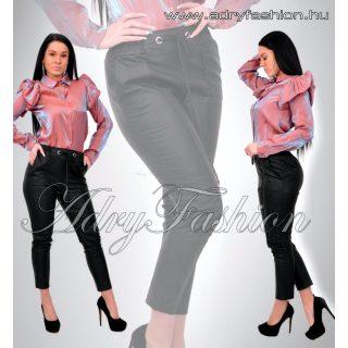 Ringli díszes bőrhatású női nadrág