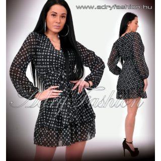 Apró mintás Fekete átlapolt muszlin női ruha
