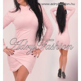 Rózsaszín szarvasbőr hatású garbós gumírozott női ruha