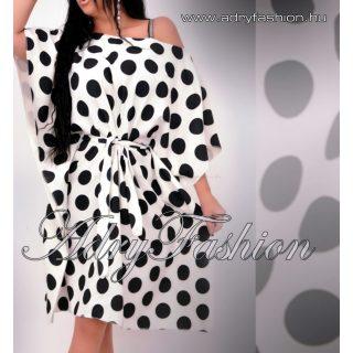 Fehér fekete nagy pöttyös lepel ruha derekán megkötős