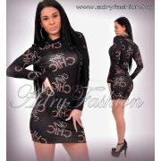 CHIC feliratos passzos garbós női ruha