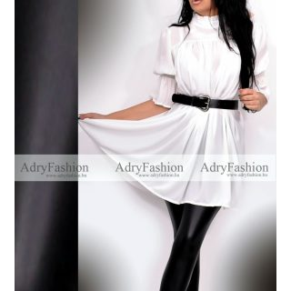 Fehér színű lenge muszlin női ruha tunika ÖVVEL