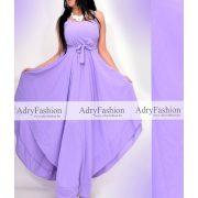 Lila színű hátán gumírozott csinos megkötős maxi ruha