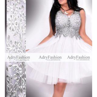 Fehér ezüst színű elegáns alkalmi női ruha  strassz díszes tüll díszes   S/M