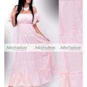 Világos Rózsaszín puffos ujjú maxi női ruha