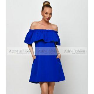 Kék vállrahúzható fodros női ruha