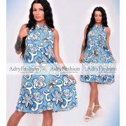 Kék alapon fehér virág mintás  nyakánál megkötős A vonalú női ruha