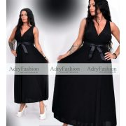 Fekete színű mell alatt szatén megkötős alkalmi női ruha