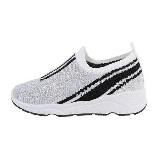 Fehér fekete strassz díszes emelt talpú sportcipő