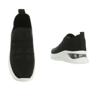 Fekete fekete strassz díszes emelt talpú sportcipő