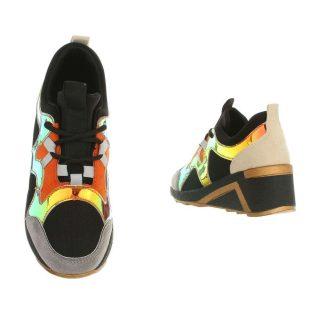 Fekete színes díszes emelt talpú sportcipő Sneakers