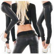 Fekete bőrhatású nadrág öv dísszel