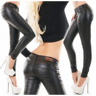 Fekete gyűrt bőrhatású nadrág
