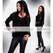 Fekete vékony kötött női pulcsi