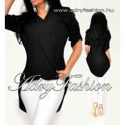 Fekete színű átlapolt ing  elöl rövidebb hátul hosszított  felgombolt ujjal lenge