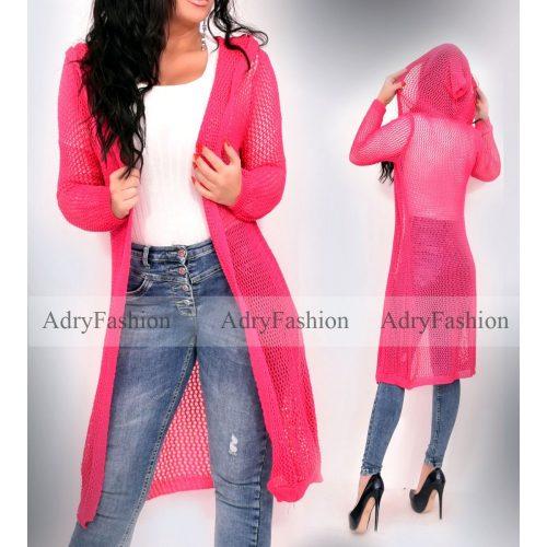 Hosszított pink lyukacsos kötött kapucnis kardigán