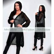 Hosszított fekete kötött kapucnis kardigán