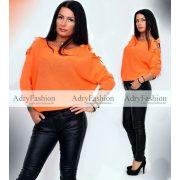 Vékony kötött narancssárga ujjánál masnis pulóver