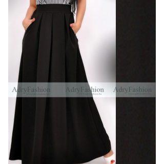 Fekete színű alkalmi maxi szoknya zsebes maxi- felső nélkül