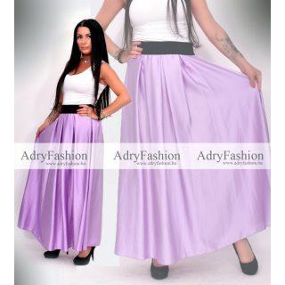 Lila színű elegáns selyem maxi szoknya gumis derekú