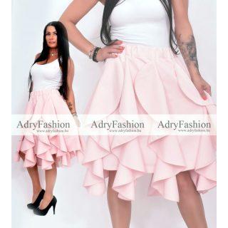 Rózsaszín színű elegáns fodros alkalmi női szoknya