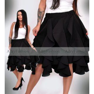 Fekete színű elegáns fodros alkalmi női szoknya