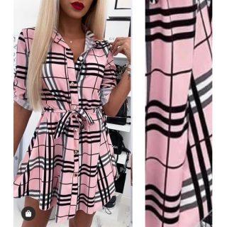 Pink színű kockás megkötős női ing