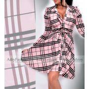 Mályva színű kockás megkötős női ing ruha