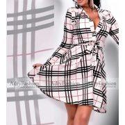 Bézs színű kockás megkötős női ing ruha bordó fekete csíkkal