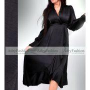 Fodros fekete alkalmi ruha selyem megkötővel