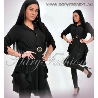 Fekete színű lenge ing ruha  megköthető ÖVVEL