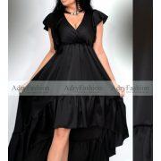 Fekete fodros alkalmi selyem ruha