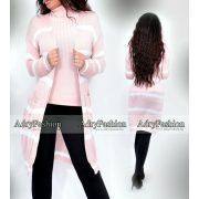 Rózsaszín színű hosszú ujjú zsebes kardigán
