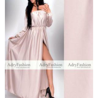 Pezsgő színű selyem elegáns alkalmi ruha - öv nélkül