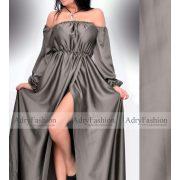 Keki színű selyem alkalmi maxi női ruha