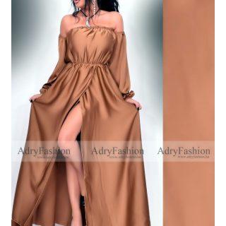 Bronz színű  elegáns alkalmi selyem női ruha