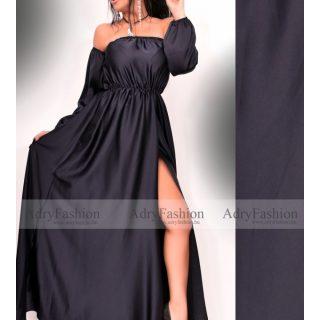 Sötétkék színű elegáns alkalmi selyem női ruha