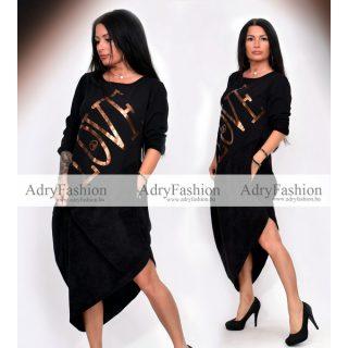 Fekete bronz színű LOVE feliratos V-vonalú női ruha