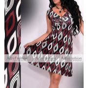 Fekete alapon bordó-pezsgő színű mintás női ruha