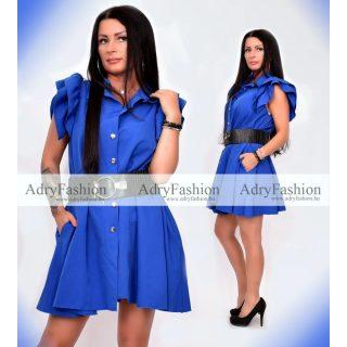 Kék színű  vállánál fodros  zsebes női ruha - öv nélkül