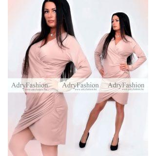 Műbőrhatású rózsaszínes hosszú ujjú alkalmi ruha
