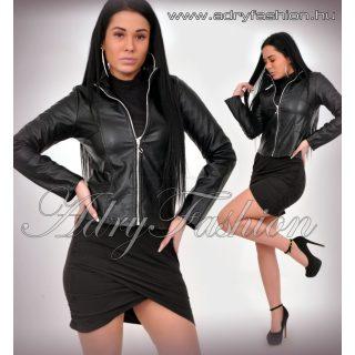 Fekete cipzáros műbőr átmeneti dzseki